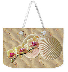 Orchids And Shells On The Beach Weekender Tote Bag by Gill Billington