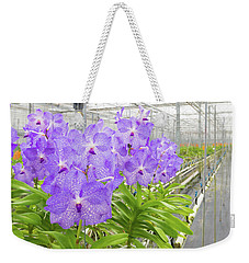 Weekender Tote Bag featuring the photograph Orchids In A Greenhouse by Hans Engbers
