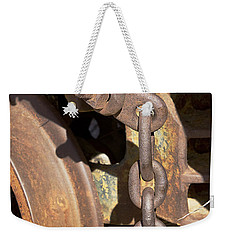 Weekender Tote Bag featuring the photograph Ore Car Chain by Phyllis Denton