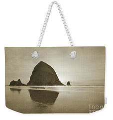 Oregon Haystack Rock Beach Rustic Landscape Weekender Tote Bag by Andrea Hazel Ihlefeld