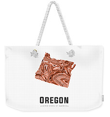 Oregon Map Art Abstract In Brown Weekender Tote Bag