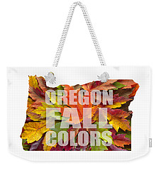 Oregon Maple Leaves Mixed Fall Colors Text Weekender Tote Bag