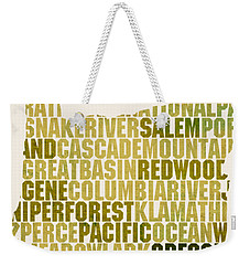 Oregon State Outline Word Map Weekender Tote Bag by Design Turnpike