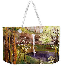 Oregon Waterfall Weekender Tote Bag by Larry Hamilton