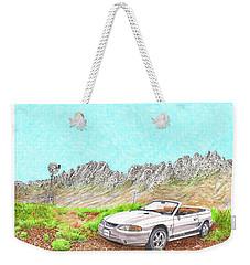Weekender Tote Bag featuring the painting Organ Mountain Mustang by Jack Pumphrey