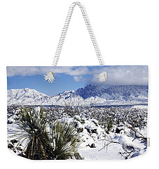 Weekender Tote Bag featuring the photograph Winter's Blanket Organ Mountains by Kurt Van Wagner