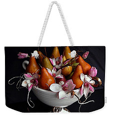 Organic Bosc Pears And Magnolia Blossoms Weekender Tote Bag