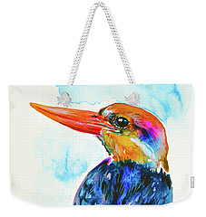 Weekender Tote Bag featuring the painting Oriental Dwarf Kingfisher by Zaira Dzhaubaeva