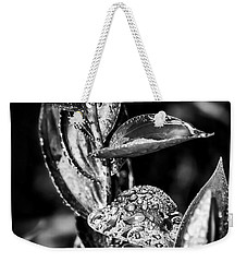 Oriental Lily Kissed By Rainfall - Black And White Weekender Tote Bag