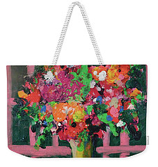 Original Bouquetaday Floral Painting By Elaine Elliott 59.00 Incl Shipping 12x12 On Canvas Weekender Tote Bag by Elaine Elliott