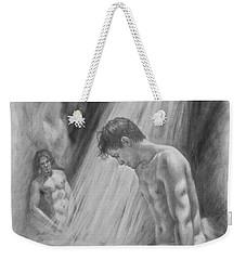 Original Charcoal Drawing Art Male Nude By Twaterfall On Paper #16-3-11-16 Weekender Tote Bag
