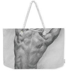 Original Charcoal Drawing Art Male Nude  On Paper #16-3-10-13 Weekender Tote Bag