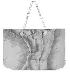 Original Charcoal Drawing Art Male Nude  On Paper #16-3-11-25 Weekender Tote Bag