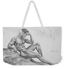 Original Charcoal Drawing Art Male Nude  On Paper #16-3-11-35 Weekender Tote Bag