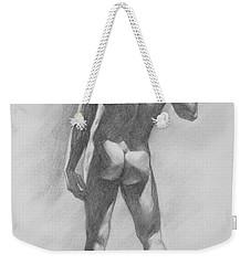 Original Charcoal Drawing Male Nude Mam On Paper #16-1-15-02 Weekender Tote Bag