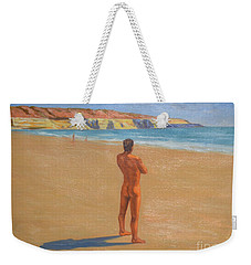 Original Classic Oil Painting Man Body Art Male Nude By The Sea-0017 Weekender Tote Bag