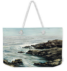 Original Fine Art Painting Bass Rocks Massachusetts Weekender Tote Bag