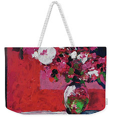 Original Floral Painting By Elaine Elliott, 12x12 Acrylic And Collage, 59.00 Incl. Shipping, Contemp Weekender Tote Bag