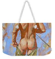 Original Oil Painting Art Male Nude Fisherman On Linen #16-2-20 Weekender Tote Bag