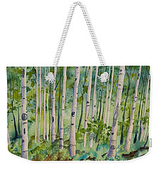Weekender Tote Bag featuring the painting Original Watercolor - Summer Aspen Forest by Cascade Colors