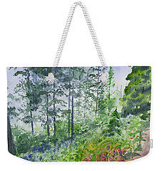 Weekender Tote Bag featuring the painting Original Watercolor - Summer Pine Forest by Cascade Colors
