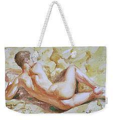 Original Watercolour Male Nude Men On Paper#16-11-6 Weekender Tote Bag