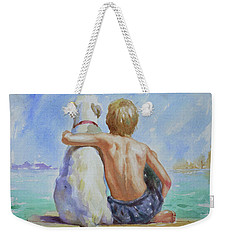 Original Watercolour Painting Nude Boy And Dog On Paper#16-11-18 Weekender Tote Bag