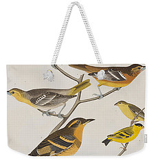 Orioles Thrushes And Goldfinches Weekender Tote Bag by John James Audubon
