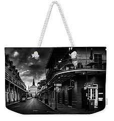 Orleans Street To St Louis Cathedral In Black And White Weekender Tote Bag