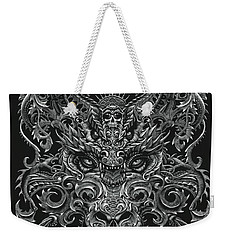 Weekender Tote Bag featuring the drawing Ornate Dragon by Stanley Morrison