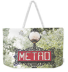 Ornate Paris Metro Sign Weekender Tote Bag by Ivy Ho