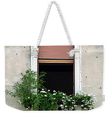Weekender Tote Bag featuring the photograph Ornate Window With Red Shutters by Donna Corless