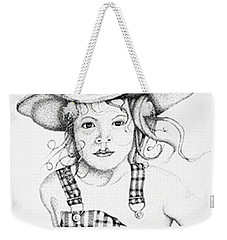 Weekender Tote Bag featuring the drawing Osh Kosh by Mayhem Mediums