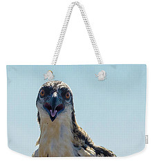 Weekender Tote Bag featuring the photograph Osprey Chick Smiles For The Camera Macro by Jeff at JSJ Photography