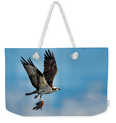 Osprey With Rainbow Bass 2 Weekender Tote Bag
