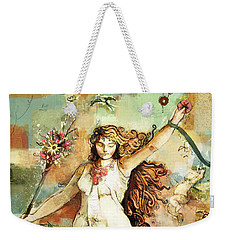 Weekender Tote Bag featuring the mixed media Ostara by Carrie Joy Byrnes