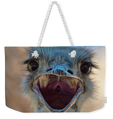 Weekender Tote Bag featuring the photograph Ostrich Big Mouth by Dan McManus