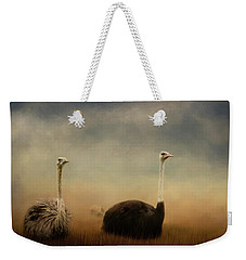 Ostrich Couple Weekender Tote Bag by Jai Johnson