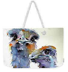 Weekender Tote Bag featuring the painting Ostriches by Kovacs Anna Brigitta