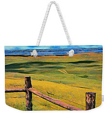 Weekender Tote Bag featuring the painting Other Side Of The Fence by Jeff Kolker