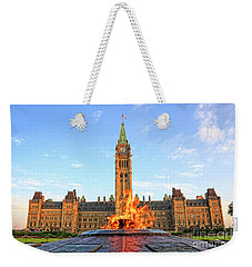 Ottawa Parliament Hill With Centennial Flame Weekender Tote Bag by Charline Xia