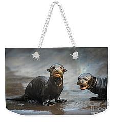 Otter Pup Pair Weekender Tote Bag by Jamie Pham