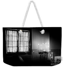 Weekender Tote Bag featuring the photograph Our Lady Chapel Detail In  The Ons' Lieve Heer Op Solder Amsterdan Bw by RicardMN Photography