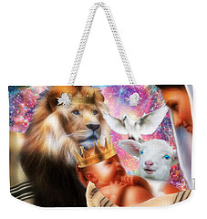 Weekender Tote Bag featuring the digital art Our Saviors Birth by Dolores Develde