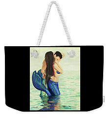 Weekender Tote Bag featuring the painting Our Treasured Love by Leslie Allen