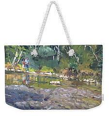 Out Fishing With Viola  Weekender Tote Bag