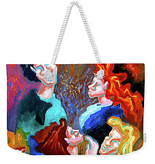 Weekender Tote Bag featuring the painting Out On The Town by Genevieve Esson