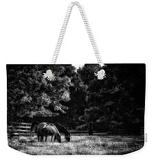 Weekender Tote Bag featuring the photograph Out To Pasture Bw by Mark Fuller