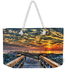 Weekender Tote Bag featuring the photograph Out To Sea Tybee Island Georgia Art by Reid Callaway