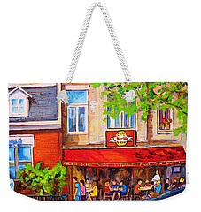 Weekender Tote Bag featuring the painting Outdoor Cafe by Carole Spandau